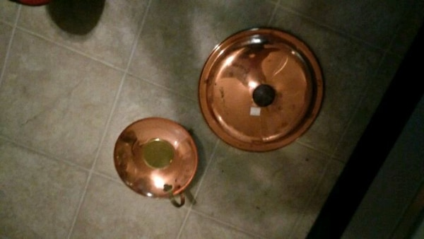 Brass or copper pan and cup