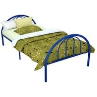 Metal twin bed frame blue