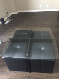 Glass coffee table with 4 Storage Containers