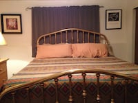 brown wooden bed frame with mattress Lyons, 80540