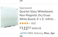 Quartet Glass Whiteboard, Non-Magnetic Dry Erase White Board, 4' x 3', Infinity, Frosted Surface Style:  Non-Magnetic	   Size:  4' x 3' Palmdale, 93551