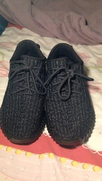 pair of black Adidas Yeezy Boost 350 HANOVER