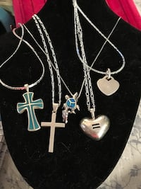 Sterling silver necklaces $26 each. Turquoise cross sold Glen Burnie, 21061