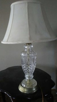 clear cut glass base white table lamp Beebe, 72012