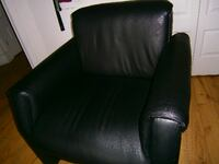 black leather padded rolling armchair MONTREAL