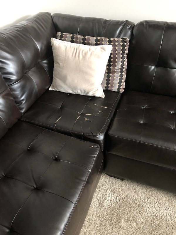Alliston DuraBlend Chocolate Sectional w/ Ottoman 8ffb18a1-98c7-479f-89d8-7a311776912f