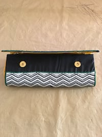 Beautiful thread embroider black grey pink and green wallet