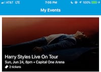 2 Harry Styles Tickets for June 24, 2018 in Washington DC Hanover, 17331