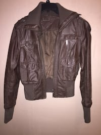 brown leather collared zip-up jacket