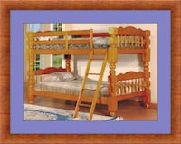 Wooden Twin bunkbed frame 2 mattress free delivery Falls Church, 22041