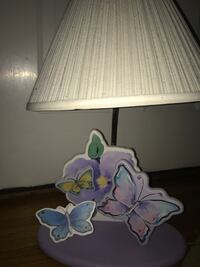 White, pink, purple butterfly table lamp