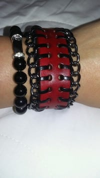 black and red beaded bracelet Green