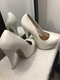 pair of white leather platform stilettos Hamilton, L8K 6R1