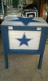 blue and white Dallas Cowboys side table