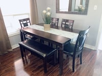 Dinning table with 4 chairs and bench. Brampton, L7A