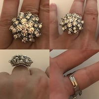 Stunning adjustable rhinestone cluster statement ring Laval, H7W