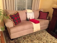 White fabric 2-seat sofa with throw pillows Toronto, M9N