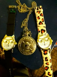 2 Cat Watches and Skull Pocket Watch