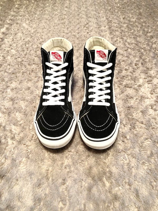 Vans hi-top paid $80 size 7 good condition women's size 8.5 . Black with white stitching. c3620bdf-80ca-4879-acb0-5af0109935d2