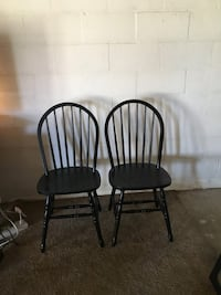 Two black distressed windsor chairs Hagerstown