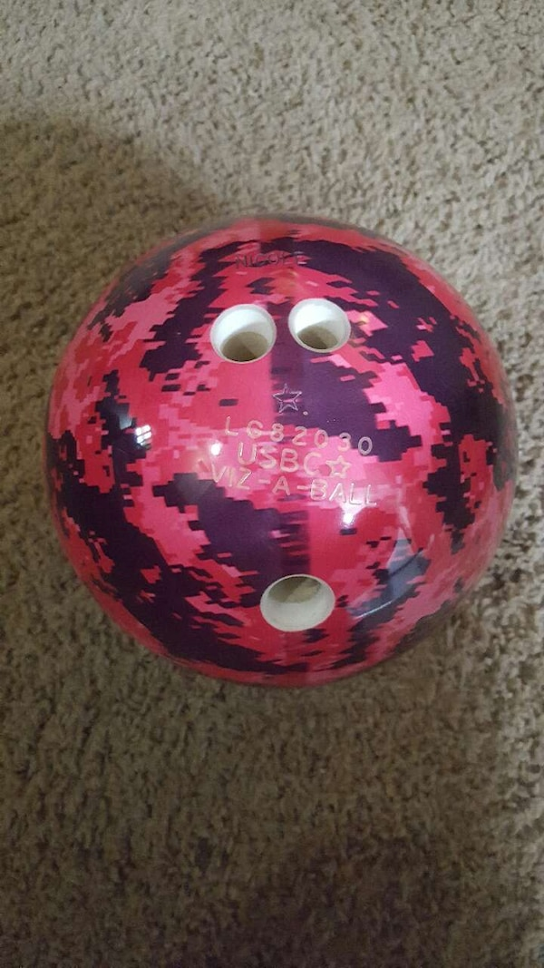 used pink digital camouflage 8lb bowling ball for sale in addison