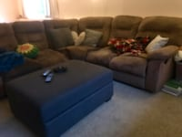 Gray fabric sectional sofa with ottoman Victoria, V8Z