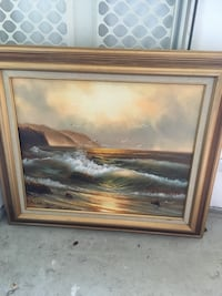 brown wooden framed painting of river 3732 km