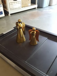 2-Brass & copper Angel candle holders