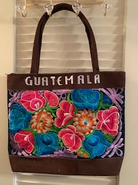black and brown floral leather tote bag Falls Church, 22041