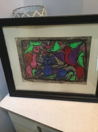 Mexican Amate Bark Art Painting, sinister cat with nervous birds! Chantilly