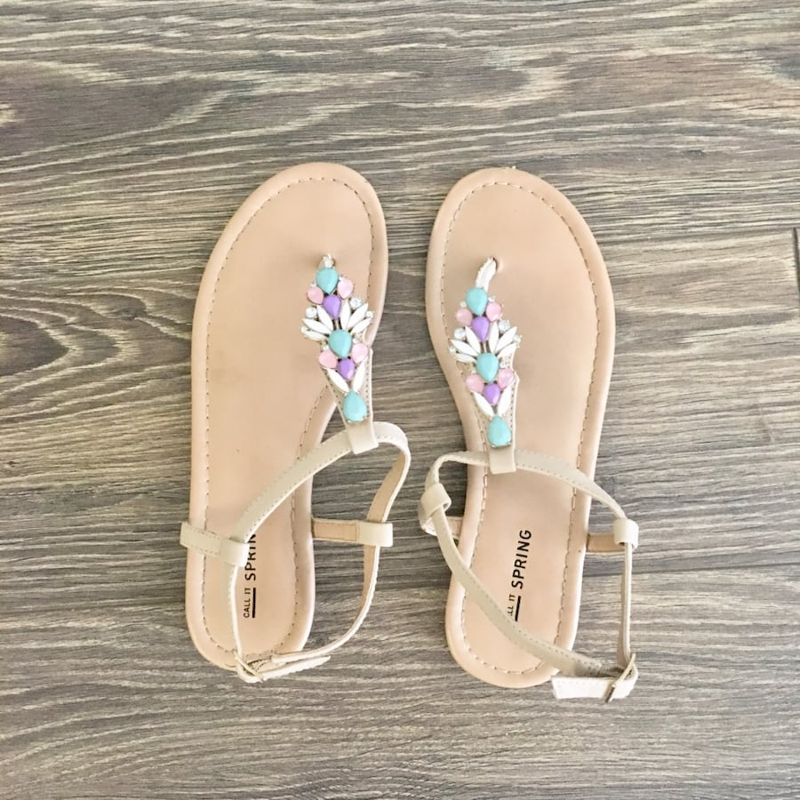 Call it Spring Jewelled Sandals - Size 6.5