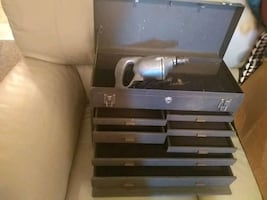 Vintage machinest tool box and drill