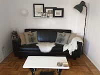 Black Leather Look Couch/Futon