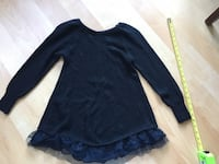 Sweater top, black heavier knit with black lace on bottom, XS - $10 Mississauga, L5L 5P9