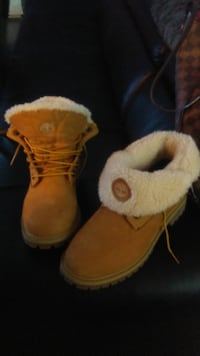 pair of brown-and-white fur boots Edmonton