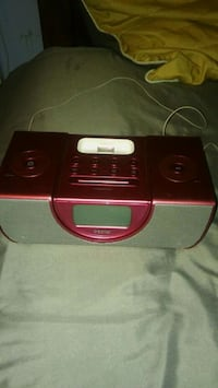 red and black docking speaker