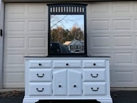 Legacy Traditions Solid Wood Long Dresser With Mirror White With Black Top  48 km