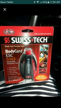 red and black swiss tech bodygard esc 5-in-1 automobile emergency tool in box Lancaster, 93536