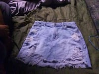 Hollister high rise ripped jean skirt size 5