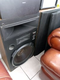 black Pioneer subwoofer with enclosure