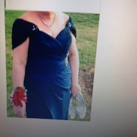 Women's blue long gown jacket included. Great for weddings prom.