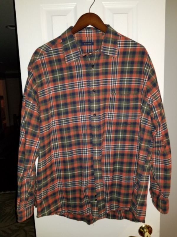 MENS CLUB ROOM ORANGE GREEN PLAID DOUBLE LINED BUT