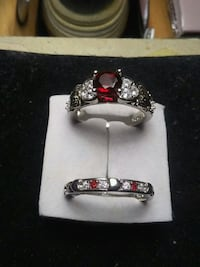 silver-colored ring with red gemstone Edmonton, T6A 3Z1