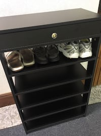 Black Shoe Rack - 5 tier, 15 pairs Boston