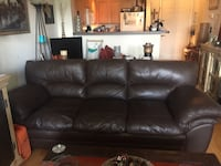 brown  leather couch 14 km