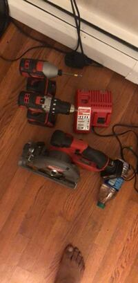 2 drills with 2 batteries 1 saw with one battery and one charger for both drills and saw. Woodbridge, 22193