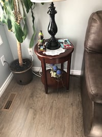 two brown wooden side tables 3147 km