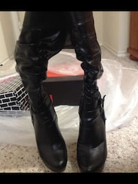 pair of black leather knee-high boots Fort Worth, 76140