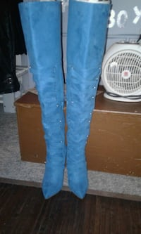 Teal blue,saude. Over the knee BOOTS