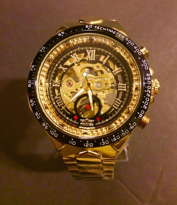 Brand new watch for man mechanical automatic skeleton water resistant